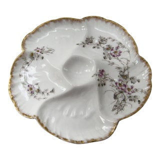 Antique Limoges France Hand Decorated Oyster Plate For Sale