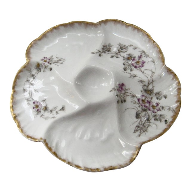 Antique Decorative Arts Oyster Plate Floral Design and Signed