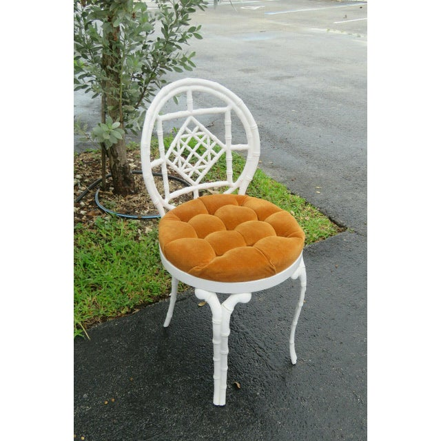 1970s Vintage Hollywood Regency Painted Iron Faux Bamboo Side Chair Stool by Kessler For Sale - Image 11 of 13