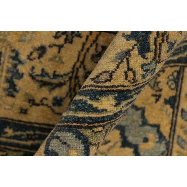 Textile Semi Antique Istanbul Gaye Tan/Teal Turkish Hand-Knotted Rug -4'8 X 7'0 For Sale - Image 7 of 8