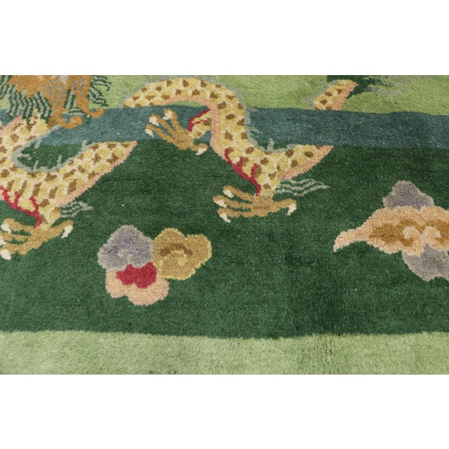 Green Antique Chinese Art Deco Rug - 7′8″ × 8′9″ For Sale - Image 4 of 9