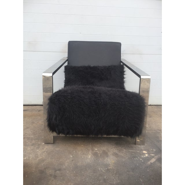 Faux Fur Leather & Chrome Lounge Chair For Sale - Image 5 of 8