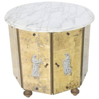 Reversed Gold Leaf Mirrored Marble-Top Round Drum Shape Stand Cabinet For Sale
