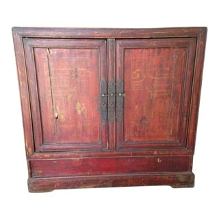 Vintage Red Two Door Cabinet