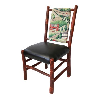 Hickory Chair W/Vintage Farm Scene Fabric For Sale