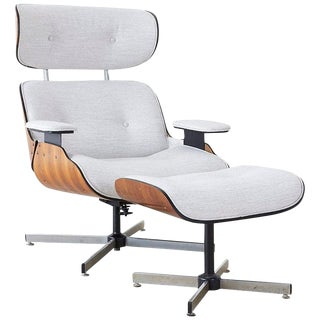 Eames Style Lounge Chair and Ottoman by Plycraft For Sale