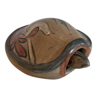Mid-Century Modern Mexican Ceramic Turtle With Bobble Head