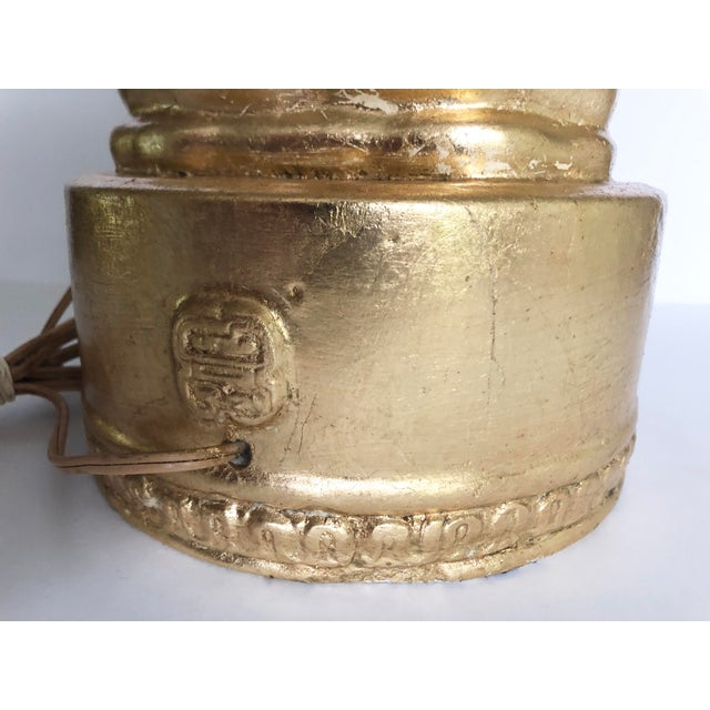 Large Gold Leaf Chinoiserie Guan Yin Lamp For Sale - Image 11 of 13
