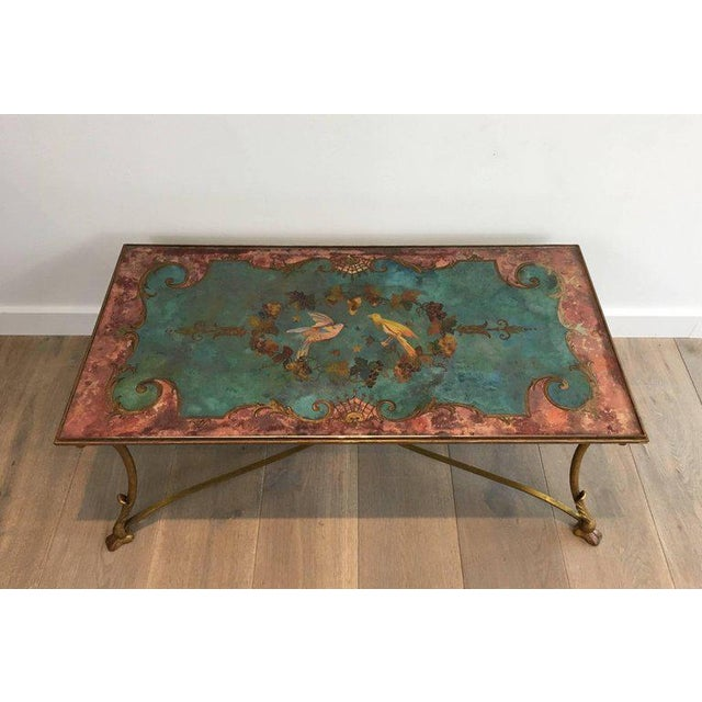 Neoclassical Coffee Table With Gilt Base and Reverse Painted Mirror Top - Image 3 of 11