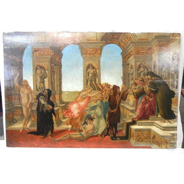 Presented here is a Staggering Antique Wood Print of Italian Renaissance Calumny of Apelles by Botticelli. This old wood...