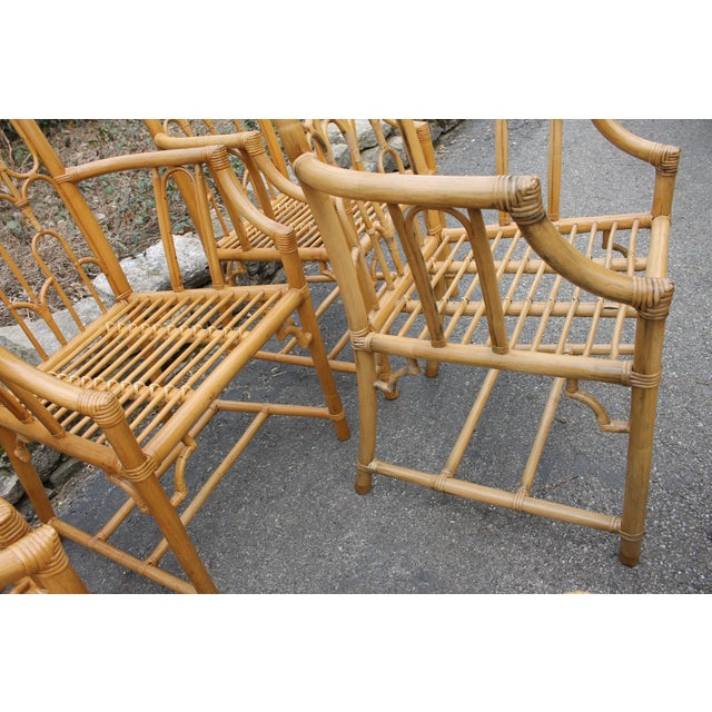 1970s McGuire Style Rattan Bamboo Gothic Cathedral Chairs All Arm Chairs - Set of 2 For Sale - Image 11 of 12