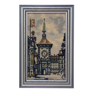 Vintage Zytglogge Clock Tower Bern Switzerland Needlepoint Art For Sale