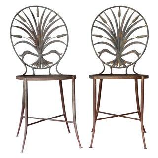 Italian Wheat Sheaf Chairs, Salvadori - a Pair For Sale