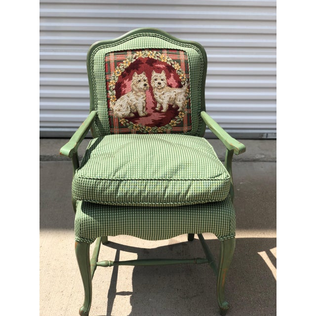 Late 20th Century Antique French Gingham Fabric & Dog Detailing Chair For Sale - Image 9 of 9