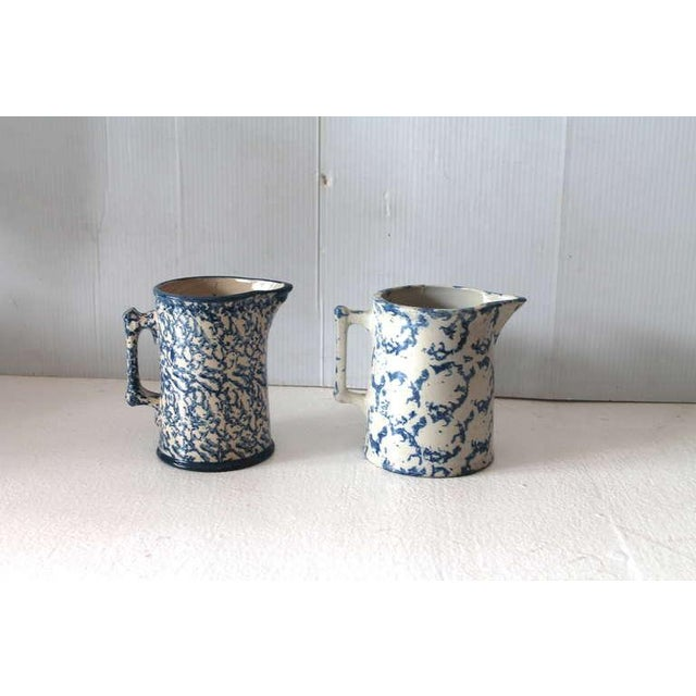 Two Amazing 19th Century Design Sponge Ware Pitchers For Sale - Image 4 of 5