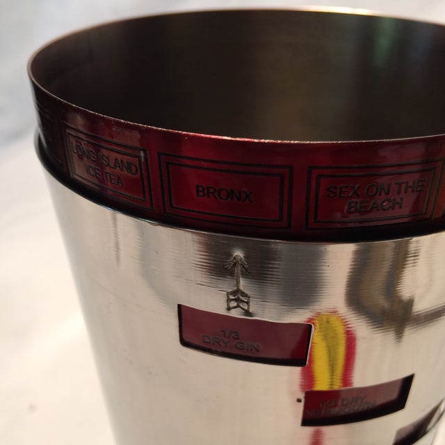 Red Anodized Stainless Steel Recipe Cocktail Shaker For Sale - Image 11 of 11