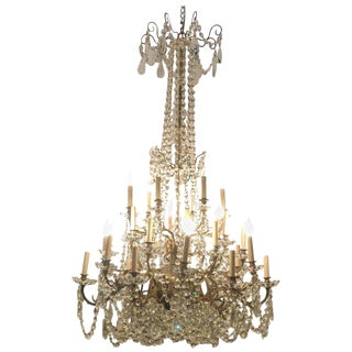 Palatial 19/20th Cent Thirty Light French Crystal & Brass Column Form Chandelier For Sale