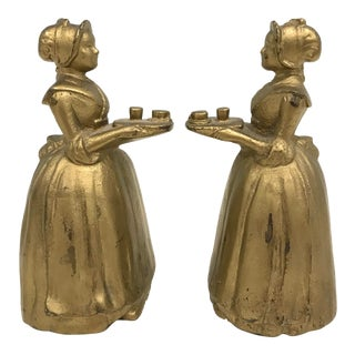 1900 Antique Walter Baker Cast Iron 'La Belle Chocolatiere' Bookends - A Pair For Sale