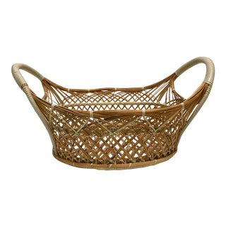 1970's Vintage Basket With Handles For Sale