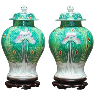 Chinese Qing Cabbage Leaf and Butterfly Ginger Jars - A Pair