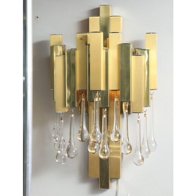 Pair of Gaetano Sciolari Brutalist sconces with glass tear drops.