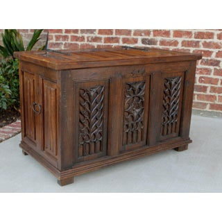 Antique French Oak 19th Century Gothic Coffer Chest Blanket Box Trunk Preview