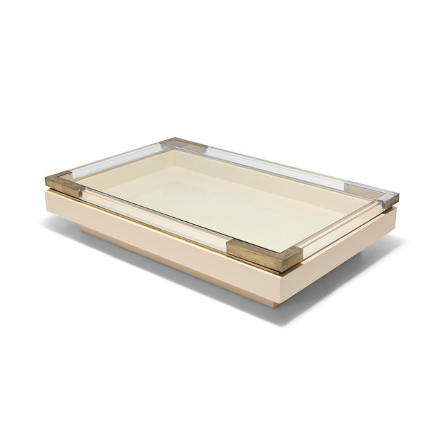 Sliding Coffee Table in Brass, Lucite and Lacquer by Charles Hollis Jones 1970s For Sale - Image 9 of 9