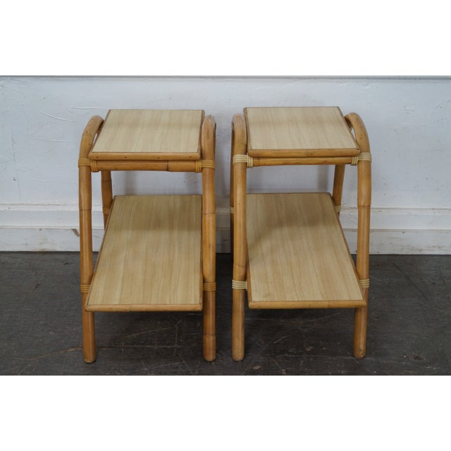 Store Item #: 14690-fwmr Vogue Rattan Pair of Vintage 2 Tier Side Tables AGE/COUNTRY OF ORIGIN: Approx 50 years, America...