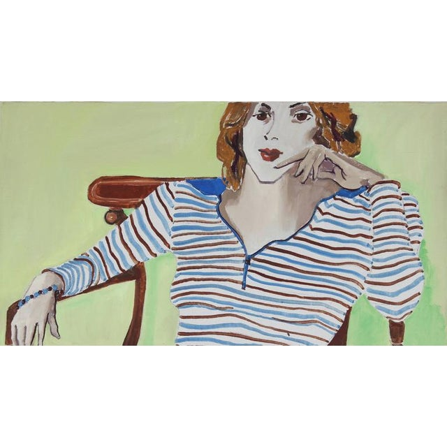 "This 1971 oil on canvas portrait of a woman in a striped shirt with a lime green background entitled ""Oakland, Linda"" is..."