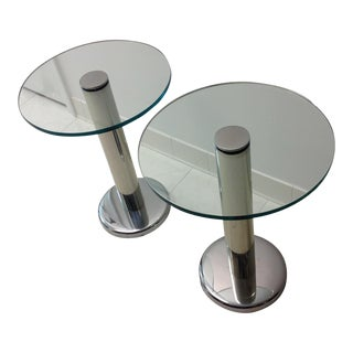 Modern Polished Chrome and Glass End Tables - a Pair For Sale