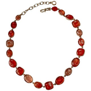 Goossens Paris Hand Tinted Pink Rock Crystal Necklace For Sale