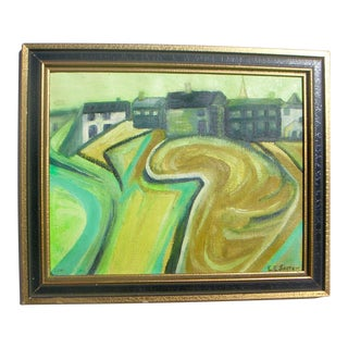 1960s Vintage European Village Expressionist Painting For Sale