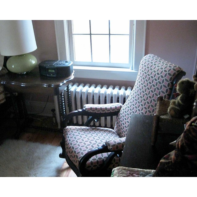 Wood Antique Empire Rocking Chair With Romo Antara Upholstery For Sale - Image 7 of 7