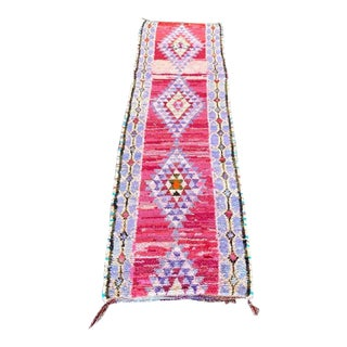 1970s Moroccan Boucherouite Rug-2′7″ × 9′6″ For Sale
