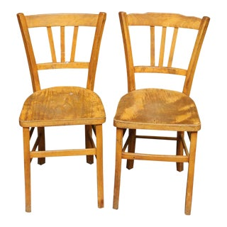 European Wooden Bistro Chairs - a Pair For Sale