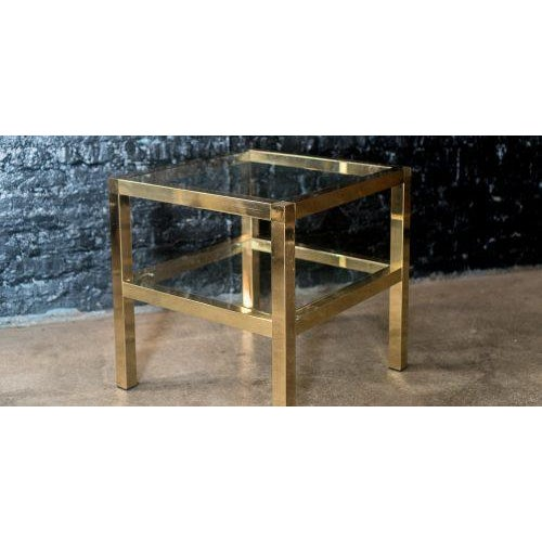 Contemporary Mastercraft Two Tiered Brass Side Table For Sale - Image 3 of 8