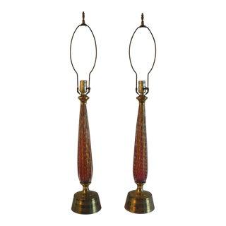 1950s Italian Murano Lamps 3-Way Lights - a Pair