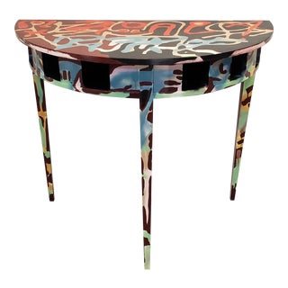 Graffitied Artist-Painted Demi-Lune Console Table For Sale
