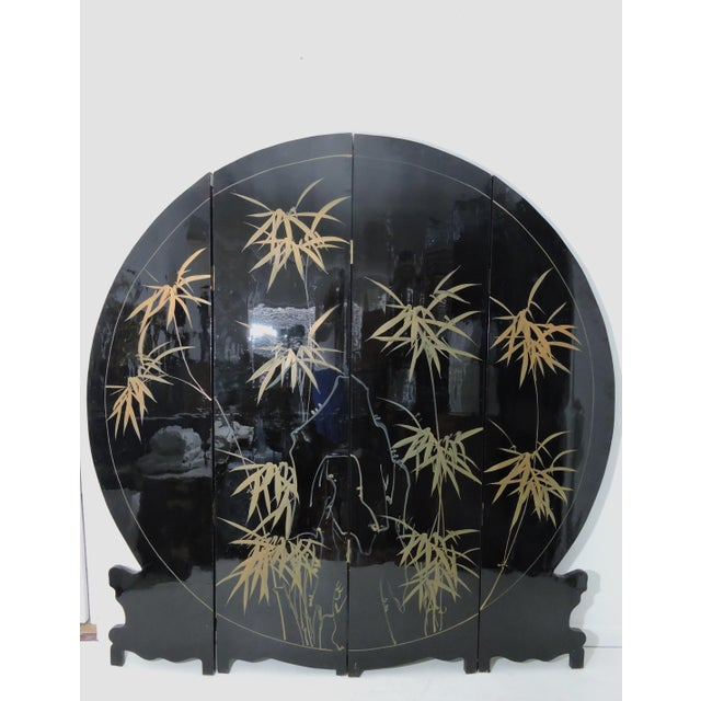 Bamboo Round Mid-Century Chinese Four Panel Mother of Pearl and Black Lacquer Peacock Room Divider For Sale - Image 7 of 7