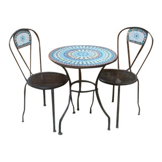 1950s Vintage Wrought Iron Mosaic Cafe Table & Chairs - 3 Pieces For Sale
