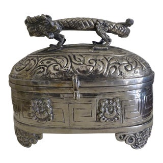Silver Dragon Hinged Box For Sale
