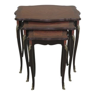 French Louis XV Style Rosewood & Mahogany Inlaid Nesting Tables- Set of 3 For Sale