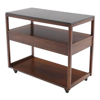 Three-Tier Walnut Serving Cart Server on Wheels For Sale