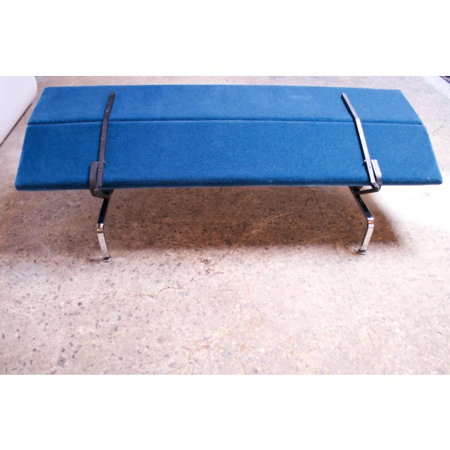Blue Charles and Ray Eames for Herman Miller Chromed-Steel and Mohair Compact Sofa For Sale - Image 8 of 13
