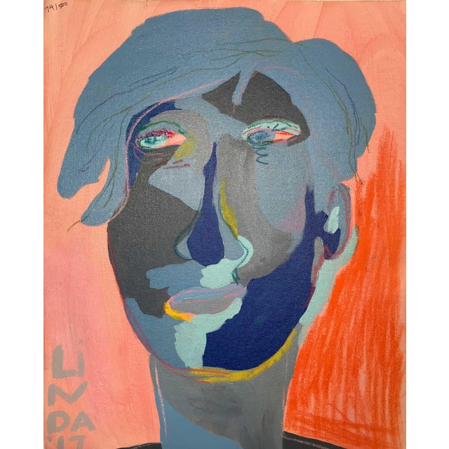 """Contemporary Abstract Portrait Painting """"Is He Ready to Go - No. 3"""" - Framed For Sale"""