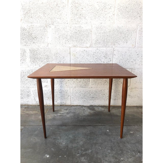 Mid-Century Modern Vintage Mid Century Modern End Table With Travertine Inlay. For Sale - Image 3 of 10