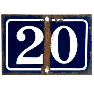 Vintage French Enamel House Number 20 For Sale