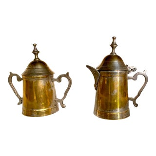 Vintage Brass & Silver Cream and Sugar Set For Sale