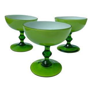 1960s Carlo Moretti Green Champagne Glasses - Set of 3 For Sale