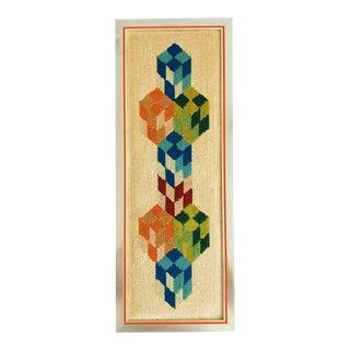 Vintage Mid Century Modernist Needlepoint Art Work frame